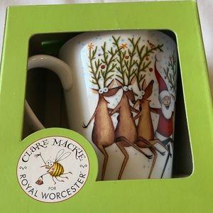 Royal Worcester Clare Mackie Santa Reindeer Mug